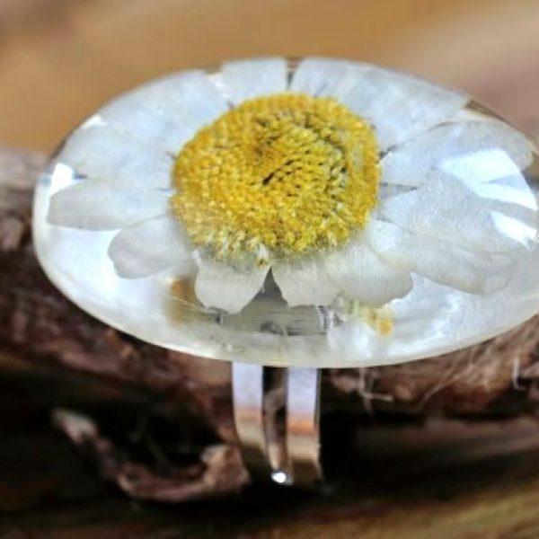 Pierścionek z rumiankiem w żywicy transparentnej